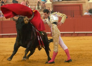 Matador Pepe Moral, June 19, 2014, at the Plaza de Toros de La Maestranza in Sevilla, Spain.