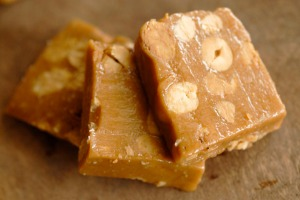 Peanut butter and honey halva with whole roasted peanuts.